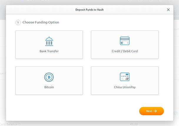 BitGold Deposit Pptions