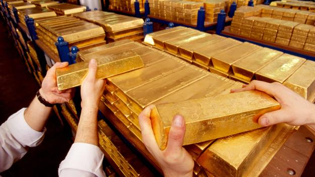 Gold Bars In The Bank of England Vault