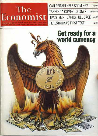 The Economist Magazine 1988 - World Currency Cover